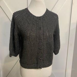 Grey wool knit cardigan